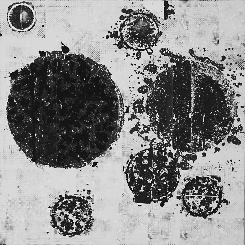 "<p>detail of <span class=""italic"">Circular Circulation Matrix</span>, 2020, carbon particle strata, polymer photogravure, gesso on canvas, 96 x 96 inches, copyright the artist.&nbsp;</p>"