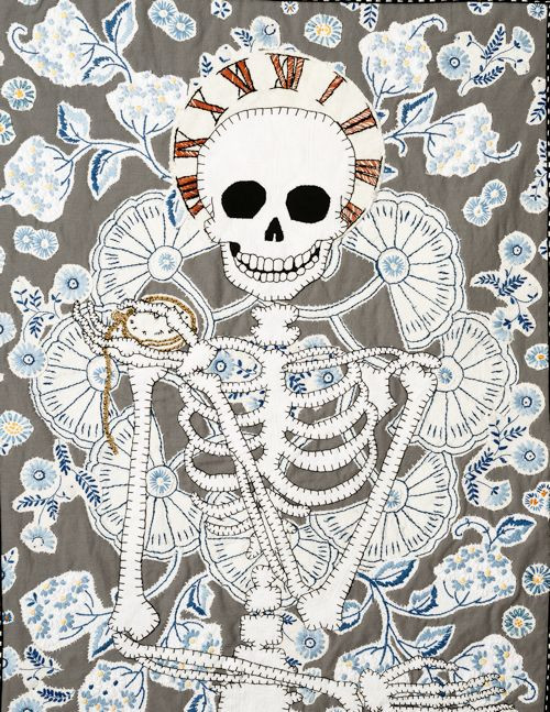 "<p>Maggy Hiltner, <span class=""italic"">Momento Mori (Time)</span>, 2016, hand-stitched cotton and linen, found embroidery, copyright the artist.</p>"