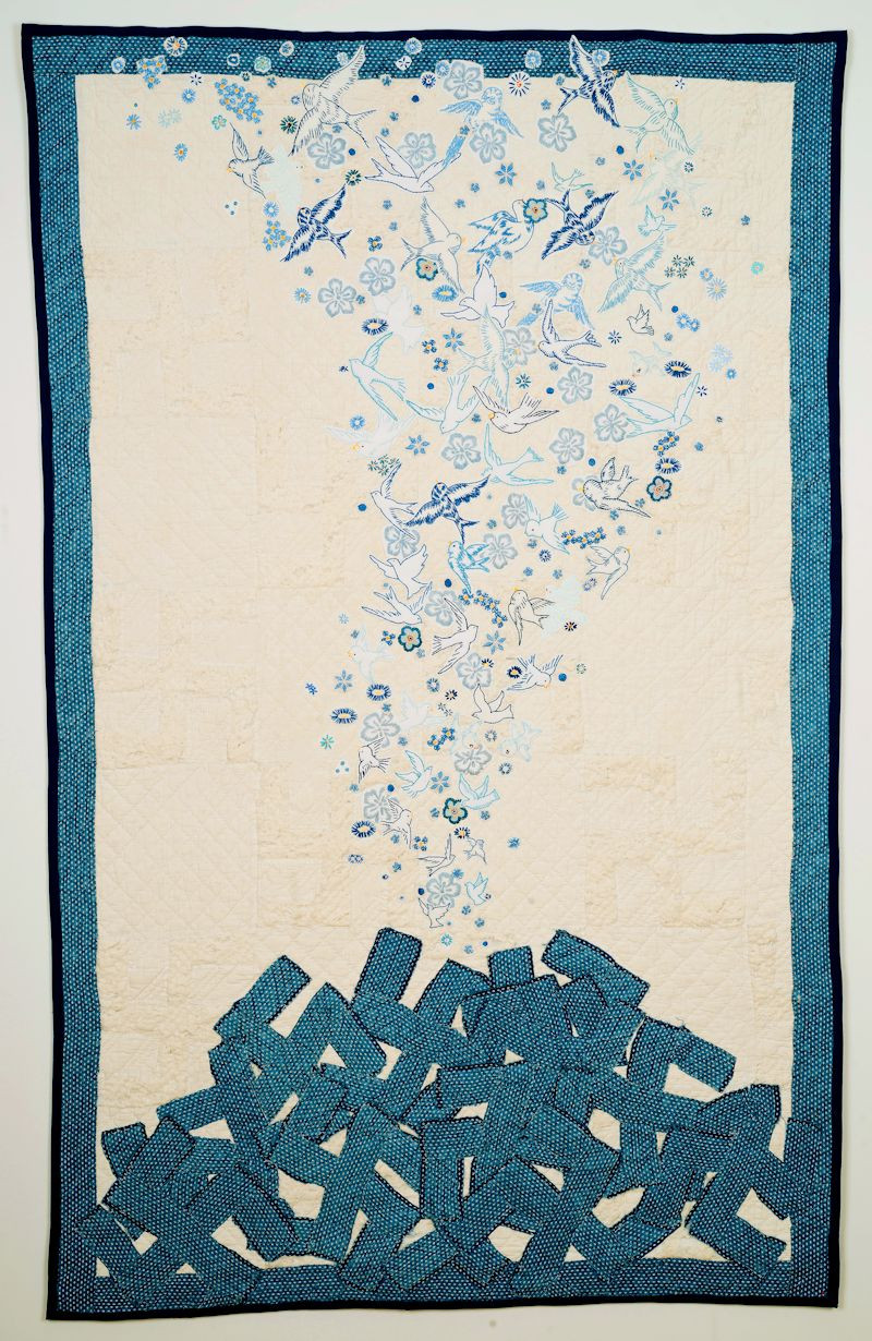 "<p><span class="""">Maggy Rozycki Hiltner, Requiem</span>, found cotton quilt (Whirling Log), found and hand-stitched embroidery, cotton, 2016, copyright the artist.</p>"